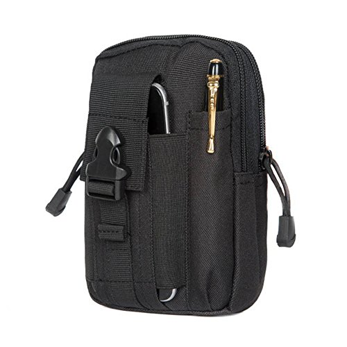 ZEROF Taktische Hüfttaschen,Taktische Tasche Hüfttasche Bauchtasche Gürteltasche für Camping Wandern Radfahren Klettern und Reisen. (Schwarz) (Gear-taschenlampe Essential)