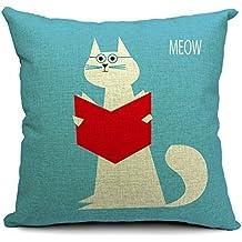Lino y Algodón Blend Decorativo Funda de Cojínes 45x45 cm [18x18'' pulgadas] - Lectura de gato