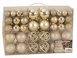 Esclusive Sfere per Albero di Natale SET con 100 Pezzi Color champagne - Esclusivo SET di palline di Natale - Materiale: plastica - Colore: Champagne - diverse dimensioni - quantità: 100 Pezzi compreso contenitore PVC