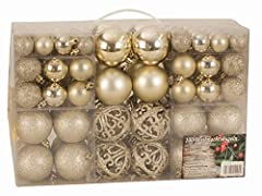 Idea Regalo - Esclusive Sfere per Albero di Natale SET con 100 Pezzi Color champagne
