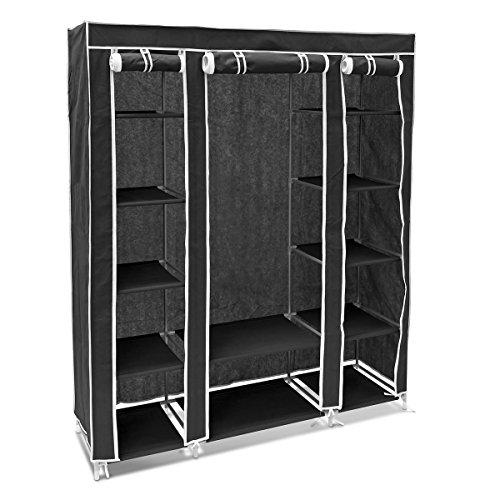 Relaxdays armadio pieghevoleo con barra porta abiti e 12 ripiani complessiviadatto come guardaroba, tela, nero, 46x148x175 cm