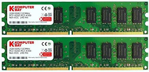 Komputerbay 4GB 2X2GB DDR2 533MHz PC2-4200 PC2-4300 (240 PIN) DIMM Desktop-Speicher (Desktop Ram Ddr2)