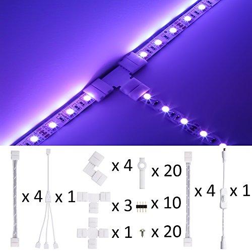LEDMO Conectores tira LED Kit 10mm Conectores luces LED para 5050 RGB...