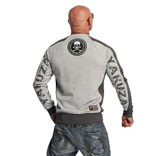 Yakuza Original Herren Love Hate Two Face Pullover Sweater Hellgrau Meliert