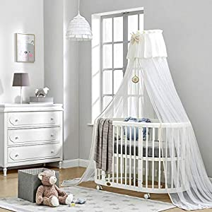DUWEN-Cot bed Solid Wood Multifunction Baby Cot European Style Cot Bed Toddler Bed Splicing Bed Round Bed   12