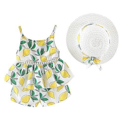 Liusdh Baby-Body für Kleinkinder, Babys, Mädchen, Blumenmotiv, Oberteil, Shorts, Outfits, Mütze, lässiges Set 33 cm gelb