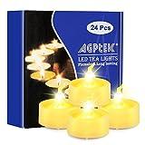 LED Teelichter mit Timer, AGPtek 24er Pack flammenlose batteriebetriebene Kerzen flackernde warmweiße LED Teelichter mit Timerfunktion 6 Stunden an und 18 Stunden aus für Haus Dekoration -