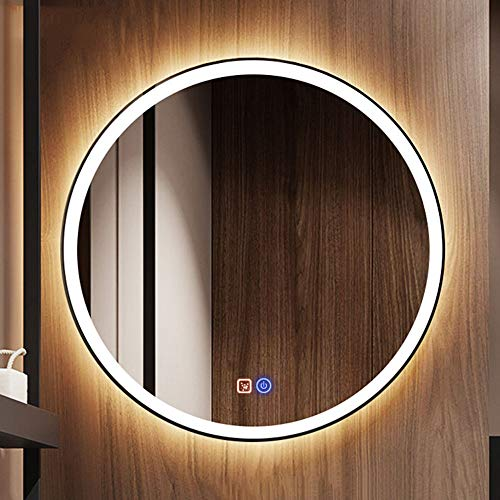 Bathroom mirror Runder LED-Beleuchteter Badspiegel, BerüHrungsschalter + Elektronischer Antibeschlag, WeißEs Licht 6000k - Weiße Wand Steuert Vier