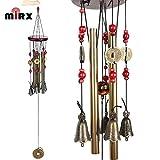 Windspiel, Bronze, 4 Metall-Zylinder, 5 Glocken, 60cm lang, für Garten, Ornament für den Außenbereich -