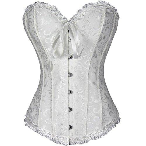 PhilaeEC Frauen Bridal Wäsche schnürt sich oben ohne Knochen Korsett (White, L)