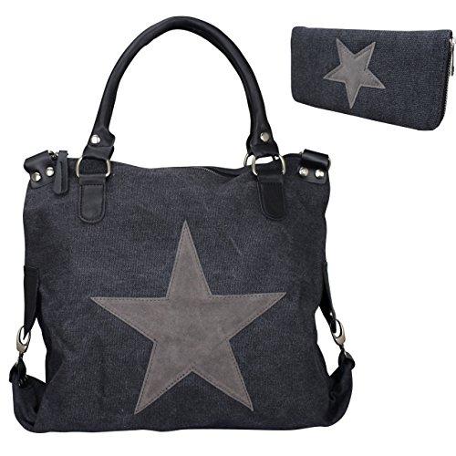 Damen FASHION Handtasche Sterne Canvas TOP TREND Tragetasche (Schwarz/Grau & Geldbörse) (Handtasche Fashion Canvas)