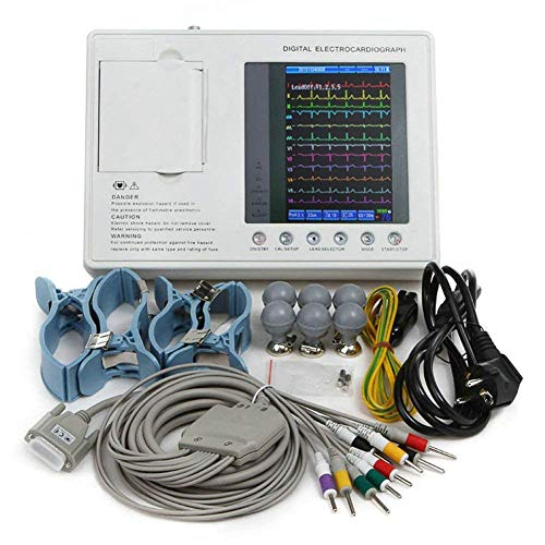 Ekg Maschine (Enshey Elektrokardiograph EKG Gerät EKG Maschine Farbe 7-Zoll-LCD-EKG mit 3-Kanal-12-Kabel)