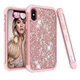Für iPhone XS Max Hülle , 2018 Glitzer Handytasche Mädchen Glitter Sparkle Bling Strass Hart PC Hardcase Bumper Cover for iPhone XS Max (Roségold)