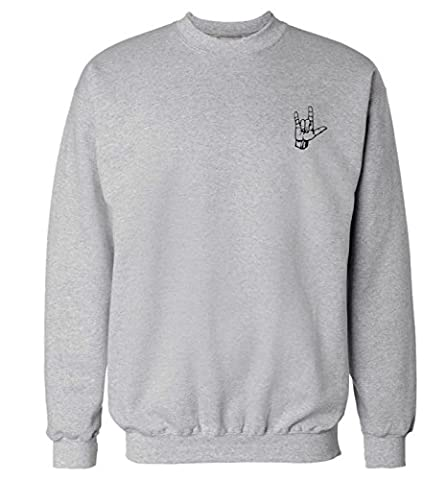 Rock On Pocket Design Sweatshirt XS – 2 X L Pullover Gr. Medium, grau