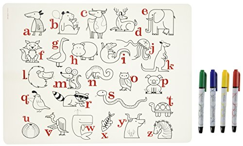 modern-twist-kids-mark-mat-silicone-coloring-placemat-with-4-dry-erase-markers-alphabet-animals