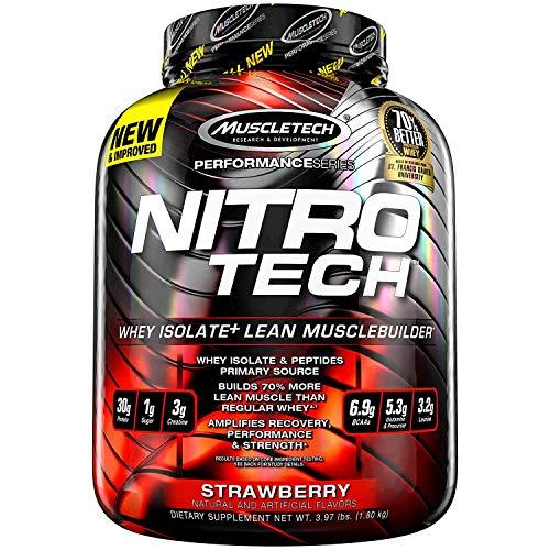 Muscletech Suplemento para Deportistas Nitro Tech Performance Series, Sabor de Fresa - 1800 gr