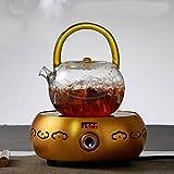bollitore Pentola di vetro bollitore piatto ispessimento alta temperatura di cottura tè vetro tea pot di teiera 850ml, giallo + fornello elettrico di ceramica