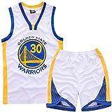 XCR NBA Guerriers Curry 30ème Golden State Maillot Costume Jersey Enfants Garçons...