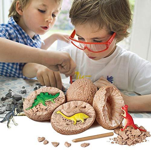 Womdee 3D Dinosaurier-Ei-Grab-Set, Mini-Dinosaurier, Grabspielzeug, Dino-Fossil-Ausgrabungs-Set mit T. Rex, Spinosaurus, Triceratops, für Archäologie und Paläontologie und Kinder, 1 Packung (Dinosaurier Schlüpfen Ei Spiele)
