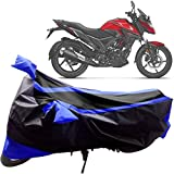 #7: Adroitz Bike Covers, Bike Body Cover for Honda XBlade Bike with Mirror Pocket and Double Stripe in Matte Black & Blue