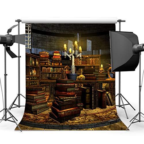ergrund 5X7FT Horrible Study Room Bookscase Vinyl Kulissen Unheimlich Schädel Retro Bücherregal Innen Allerheiligen 'Tag' Fotografie Hintergrund Maskerade YX859 ()