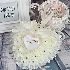 Lamdoo Ring Aufbewahrungsbox Kissen Kissen Dekoration für Hochzeit Schmuck Geschenke Romantische
