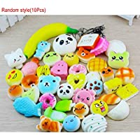 EMVANV 10Pcs Squishy Squishy Toys, Soft Stress Reliever Squeeze Panda/Bread/Cake/Buns Slow Rising Stress Decompression Toy