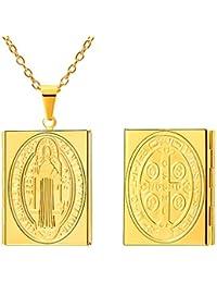 FaithHeart Guardapelo Medallón de San Benito Collar Colgante de Acero Inoxidable Guardar Fotos con Cadena Ajustable 22/55 cm