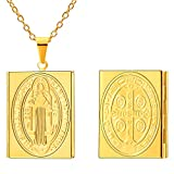 FaithHeart Damen Kette Halskette Rechteckig / Rund St. Benedict Medaille Foto Medaillon Andenken Teufelsjagd Anhänger Silber Rose Gold