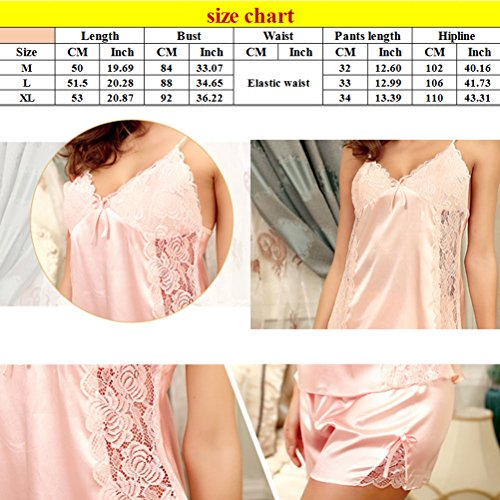 Zhhlaixing Comfortable Women's 2pcs Sexy Lace Silk Lingerie Strap Sleeveless Sleepwear Chinese red