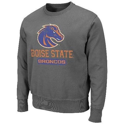 Boise State Broncos NCAA Pioneer Fleece Crew Sweatshirt Chemise - Charcoal