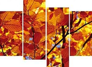 Arbres Poster Reproduction Sur Toile, Tendue Sur Châssis - Feuilles D'Automne, 4 Parties (120 x 80 cm)