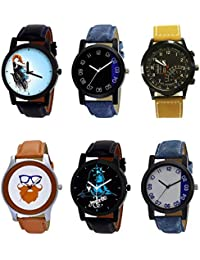 NIKOLA New Quartz Mahadev Beard Style Black Blue And Brown Color 6 Watch Combo (B22-B37-B42-B55-B23-B40) For Boys...