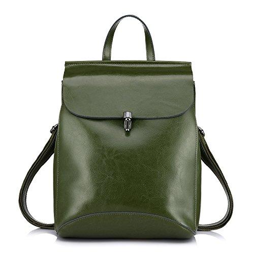 Realer Echtes Leder Rucksäcke Geldbörsen für Frauen Schultertasche Grün (Grün Leder-umhängetasche)