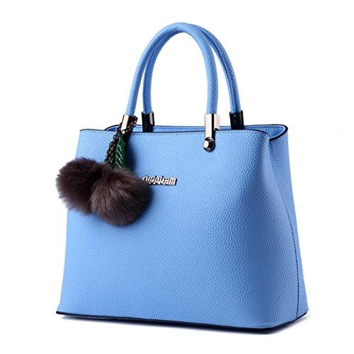 Donna Borse a Mano Granulate di Alta Capacità Semplice e Classico con Due Capelli Palle e Foglio Decorativo Cielo blu Cielo blu