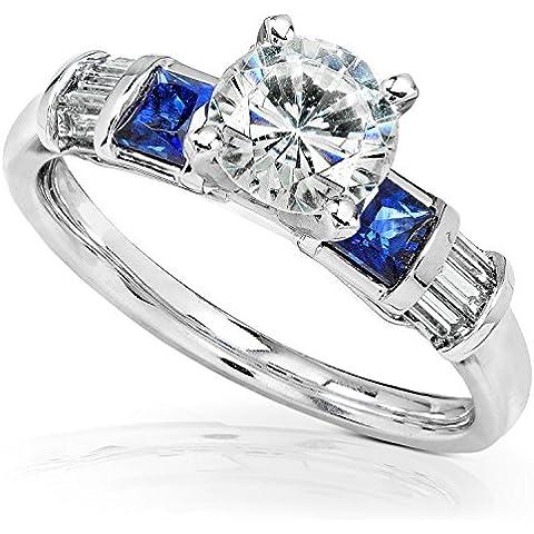 Moissanite, con diamante e zaffiro &-Anello di fidanzamento, 1 1/2-CTW in oro bianco 14 k - Moissanite Diamante Zaffiro