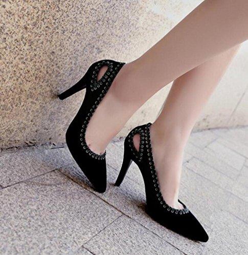 Beauqueen OL Pumps Hohle Hochzeit Wildleder Leder Scarpin High Heel Peep Toe Frauen leicht zu passen elegante Schuhe EU Größe 34-39 , black , 39 (Leder Pointed Shoe Court)