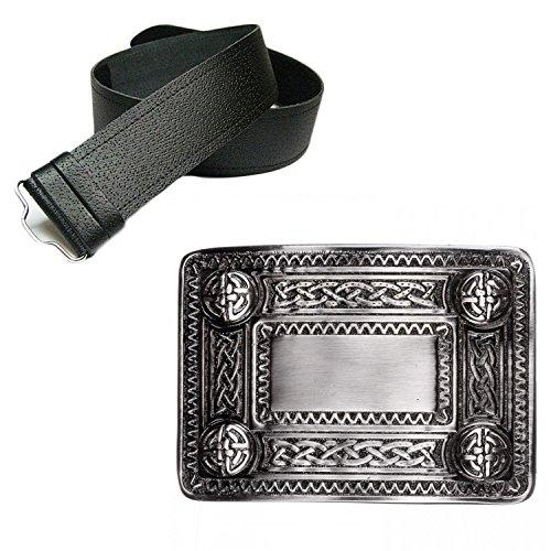 New Leather Man Fine Grain Belt Kilt & Antique Celtic Knot Buckle - Choose Size - Black, Xlarge (42-52 In)