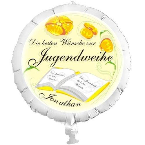 Personalisierter Foto-Ballon zur Jugendweihe mit individuellen Name, als Überraschung und mit Helium befüllbar, ohne Heliumfüllung