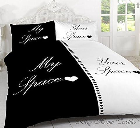 Keep Calm/My Space votre espace Parure de lit en polycoton avec housse de couette et taies d'oreiller King Duvet Cover set Space Black/White