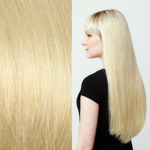 Meisi Hair Extension capillaire en cheveux naturels et lisses de qualité Remy 5A Blond clair #613 40 cm
