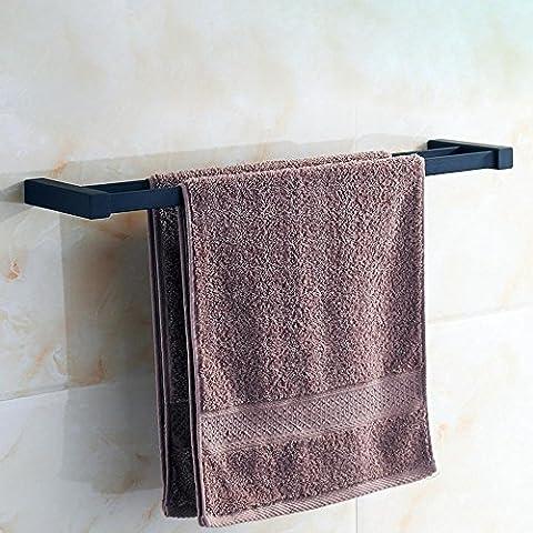 Khskx simple Style moderne de salle de bain Barre de serviette, Noir, alliage de cuivre, caoutchouc Peinture double Porte-serviettes