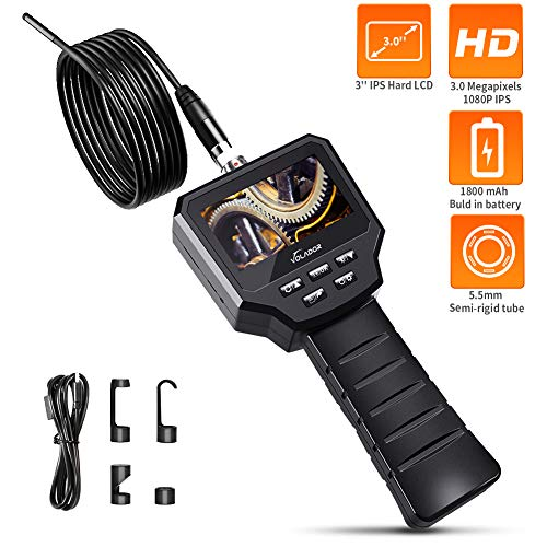 Volador Industrie Endoskop, 3,0 Zoll 3,0 Megapixel 1080P HD IPS Schwer LCD Inspektionskamera, Eingebaute 1800-mAh-Akku Boreskope, 5,5MM IP67 Wasserdichtes 6-LED Video Handheld Endoskopkamera, 5M