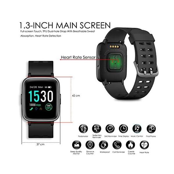 CHEREEKI Reloj Inteligente, Smartwatch Impermeable IP68 Pulsera Actividad 1.3 Pulgada con Monitor de Ritmo cardíaco… 3