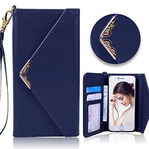 Für iPhone 6 Plus / 6s Plus Schale, Vandot Luxus Leder Flip Case Cover für iPhone 6 Plus / 6s Plus Bling Hülle mit Kartenfächern Diamant Shining Handy Schutzhülle Tasche Bumper + 1X Micro USB Kabel +  Envelope Tiefblau