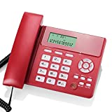 Schnurgebundenes örtlich festgelegtes Telefon mit Freisprecheinrichtung Anrufer Identifikation / Anruf-Speicher-Rechner Wecker keine Batterie Großer Schirm Großer Knopf-Platz für Wohnzimmer-Schlafzimmer Flur-Treppenhaus-Badezimmer-Studie ( Farbe : Rot )