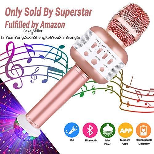Kabelloses Mikrofon, Bluetooth-Mikrofon, Karaoke, Bluetooth-Mikrofon, tragbar, 4.1, kabellos, Karaoke, für PC, Laptop, iPhone, iPad, Android-Smartphone roségold