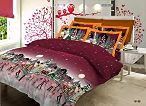 Bombay Dyeing Glow Cotton Double Bedsheet with 2 Pillow Covers - Dark Maroon (CS03GL04648802)