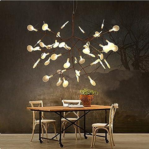 QWER Lampe de plafond suspendu Creative Living Room Restaurant Lustres Feuilles Art Gallery Cafe Lustre Firefly, diamètre 76cm Pas de marges, 53cm, très chaude lumière
