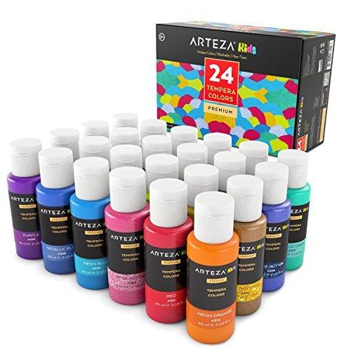 ARTEZA Coffret peinture enfant tempera 24 couleurs | Peinture gouache enfant | Gouache en tube 29 ml | Peinture enfant lavable avec paillettes, métallisée, fluorescente ou standard
